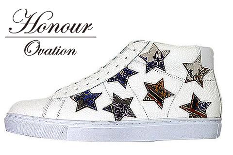 Honour Ovation(アナーオベーション)ハイカットSTARデザインスニーカー【メンズ】【白/ホワイト】【White/Purplepattern】【3070】【雑誌OCEANS・WOOFIN' 掲載ブランド】【紫/パープル】【星】【シューズ/ブーツ】【メンズ】【送料無料】