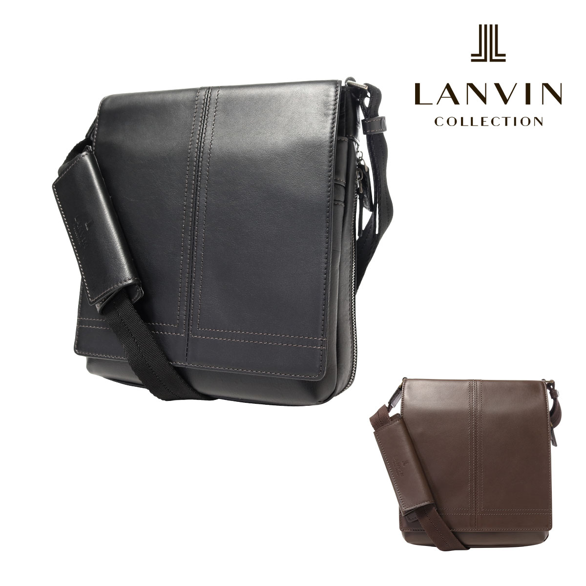 ランバンコレクション ショルダーバッグ メンズ 日本製 サントル 286101 | LANVIN COLLECTION 本革 レザー【PO5】