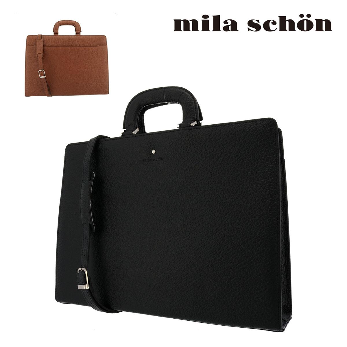 ミラショーン ブリーフケース メンズ ネロ 197518 | Mila Schon ビジネスバッグ 本革 レザー[PO5]