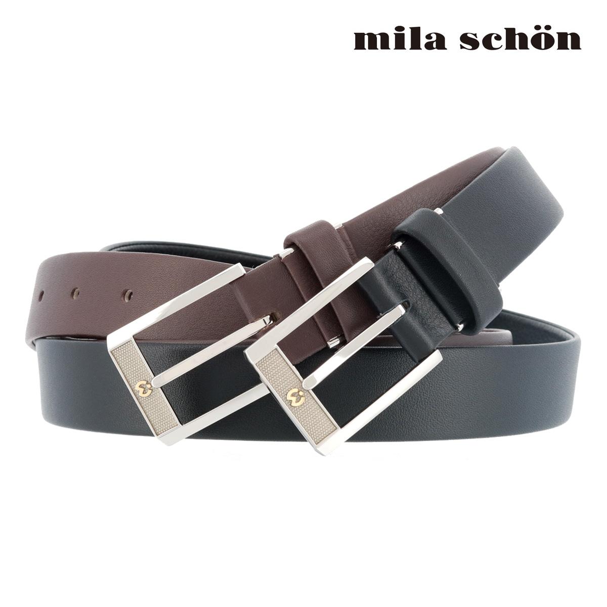 ミラショーン レザーベルト MSMB1950 | milaschon ピン式 牛革 メンズ[PO5][bef]