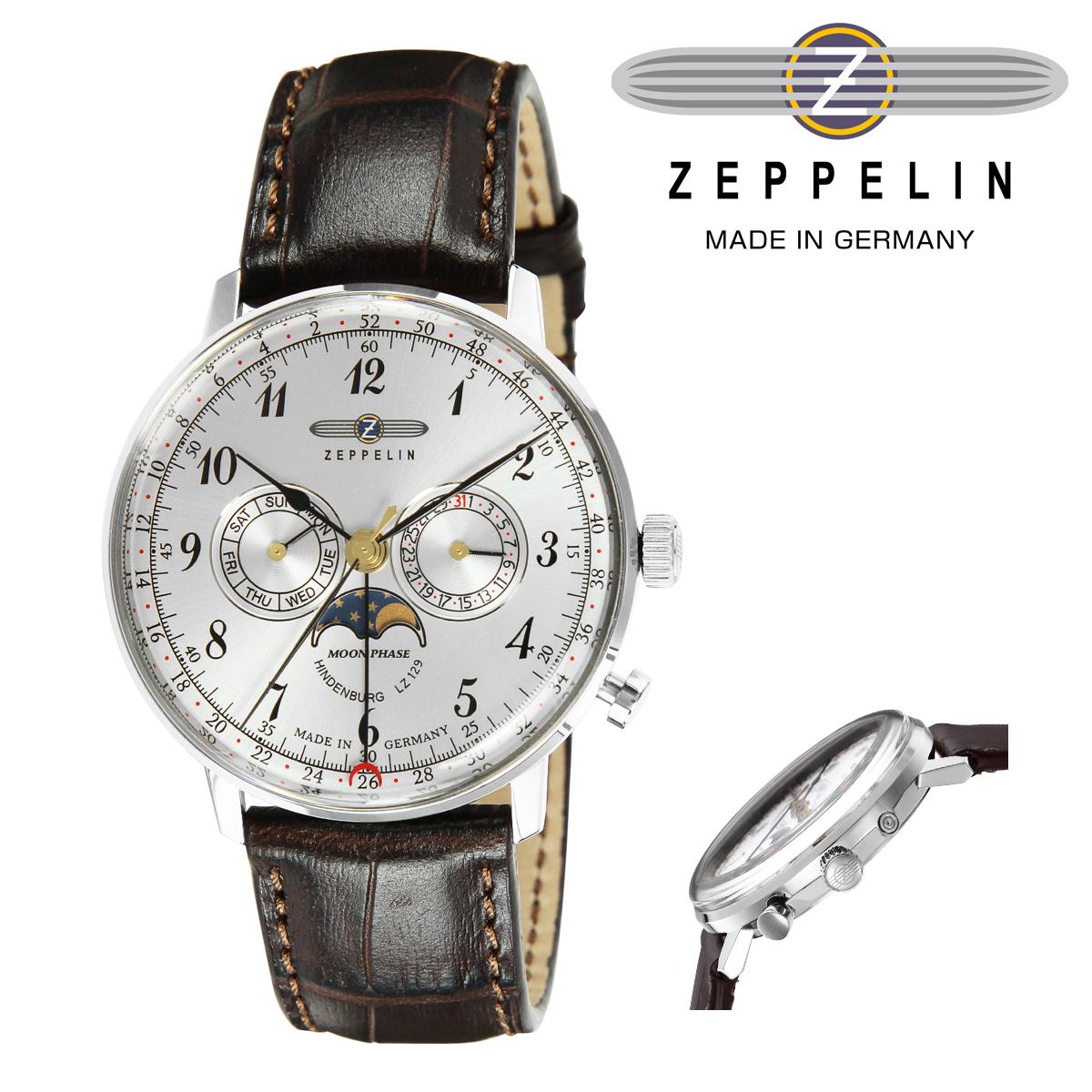ツェッペリン 腕時計 HINDENBURGmoonphase 1875887 メンズ ZEPPELIN ステンレススチール アクリルガラス 本革