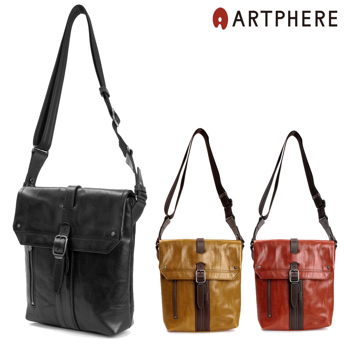 アートフィアー ショルダーバッグ 豊岡鞄 メンズ アンビション BK15-101 ARTPHERE Ambition | 薄マチ 縦型 斜めがけ 牛革 レザー