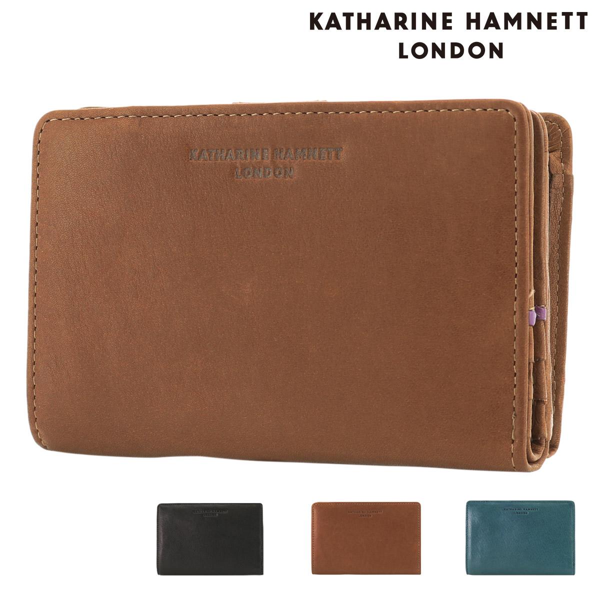 キャサリンハムネット 二つ折り財布 ソフト メンズ 490-57004 KATHARINE HAMNETT | 牛革 本革 レザー ブランド専用BOX付き [PO10]
