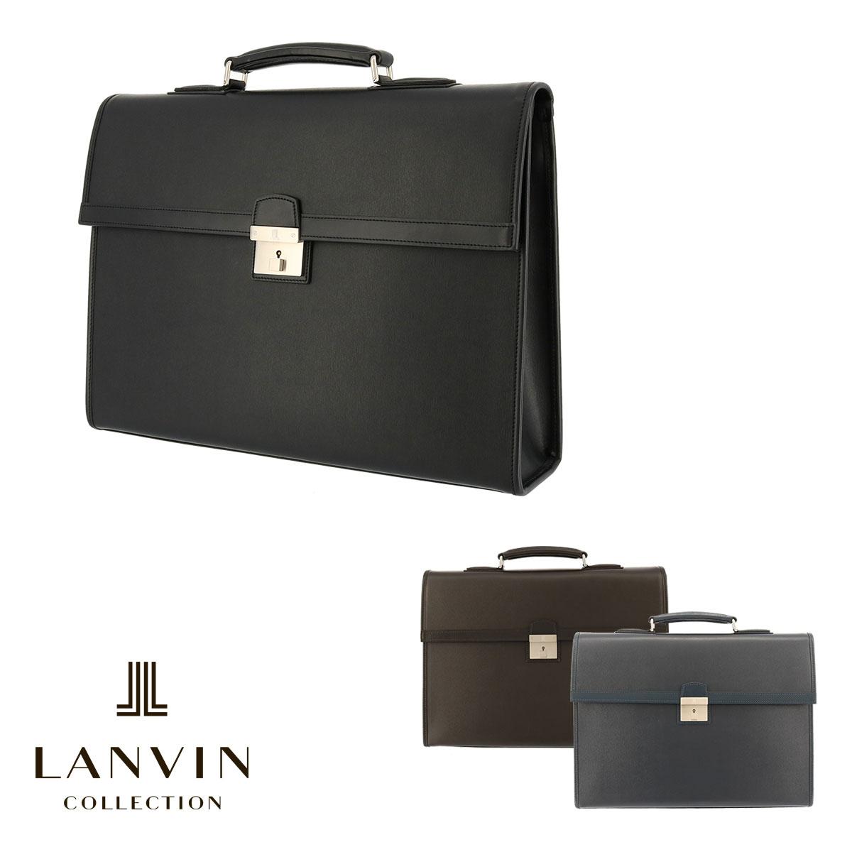 ランバンコレクション ブリーフケース A4 鍵付 メンズ 日本製 フロー 282553 LANVIN COLLECTION ビジネスバッグ 出張 牛革 本革 レザー