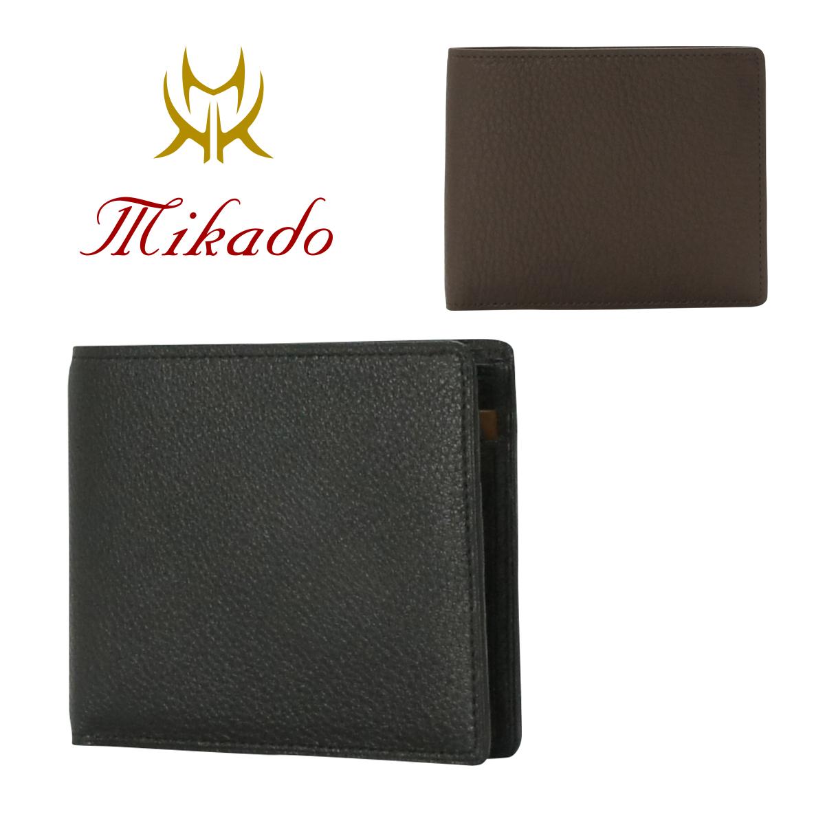 ミカド Mikado 二つ折り財布 320023 コンビヌメ 財布 メンズ レザー [PO5][bef]