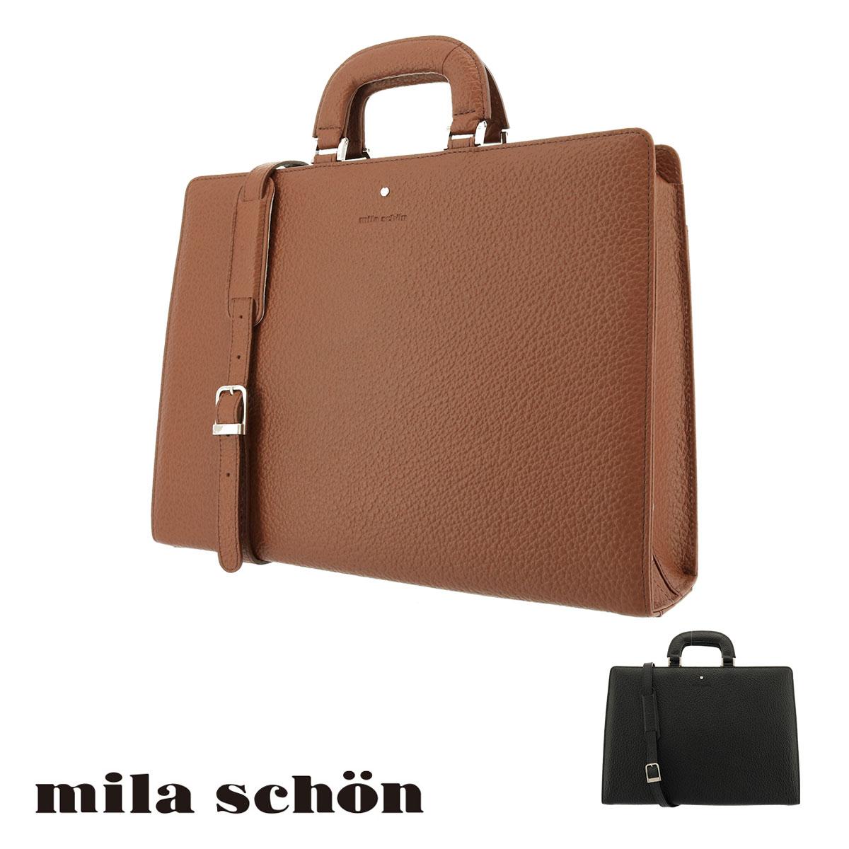 ミラショーン ブリーフケース メンズ ネロ 197517 Mila Schon ビジネスバッグ 本革 レザー