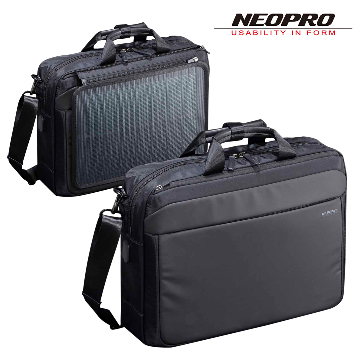 ネオプロ ブリーフケース 2WAY ソーラードライブ メンズ 2-860 NEOPRO ソーラーパネル搭載 ビジネスバック 撥水 USBポート搭載 太陽光パネル 防災バッグ[PO10][bef]