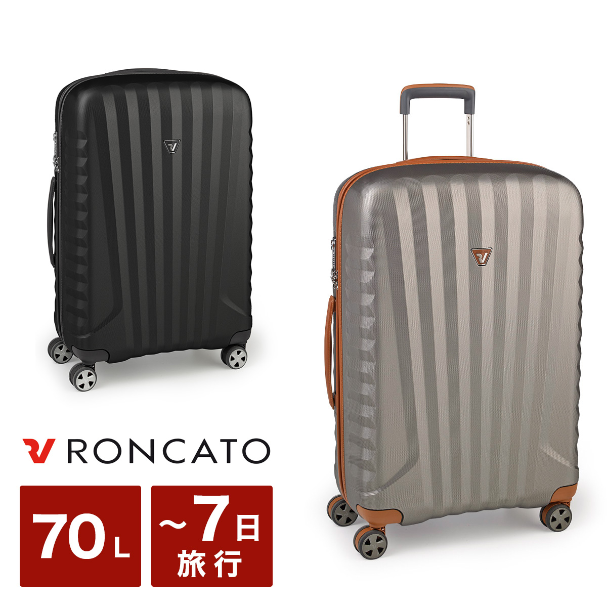 ロンカート スーツケース 70L 67cm 3.1kg ハード ファスナー イタリア製 イーライト 5222 RONCATO E-LITE キャリーケース 軽量 TSAロック搭載 10年保証