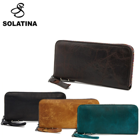 SOLATINA ソラチナ 長財布 38153 焦げ加工ホースレザー ラウンドファスナー ロングウォレット 全4色 SCORCHED HORSE LEATHER LONG WALLET ROUND TYPE [PO10][bef][即日発送]