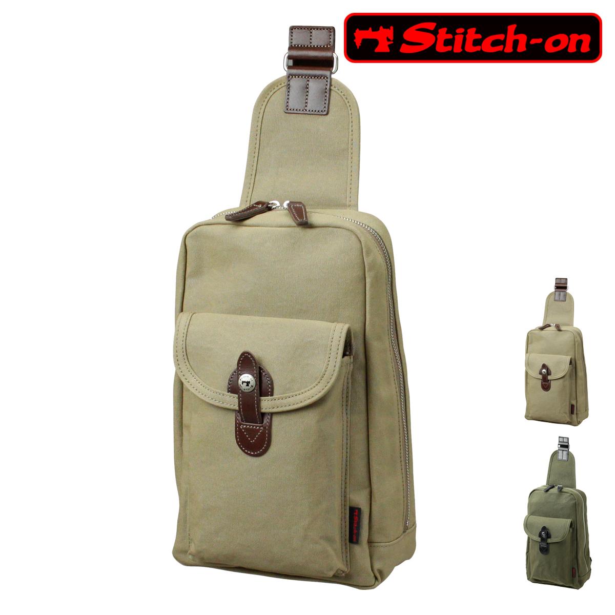 ステッチオン ボディバッグ 帆布豊岡鞄シリーズ メンズ 52195 日本製 Stitch-on   豊岡 10号帆布[PO10][bef]