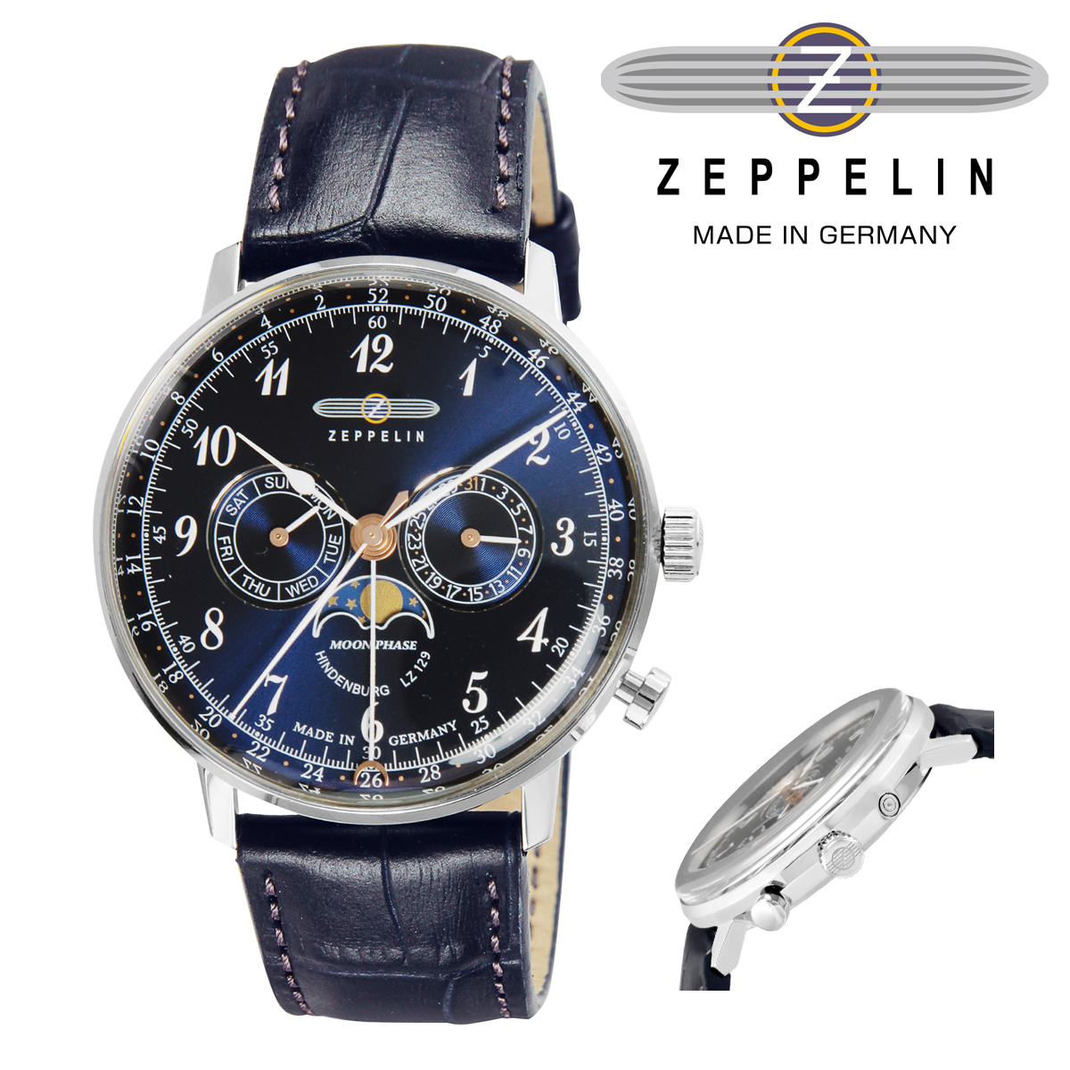 ツェッペリン 腕時計 HINDENBURGmoonphase 1875947 メンズ ZEPPELIN ステンレススチール アクリルガラス 本革