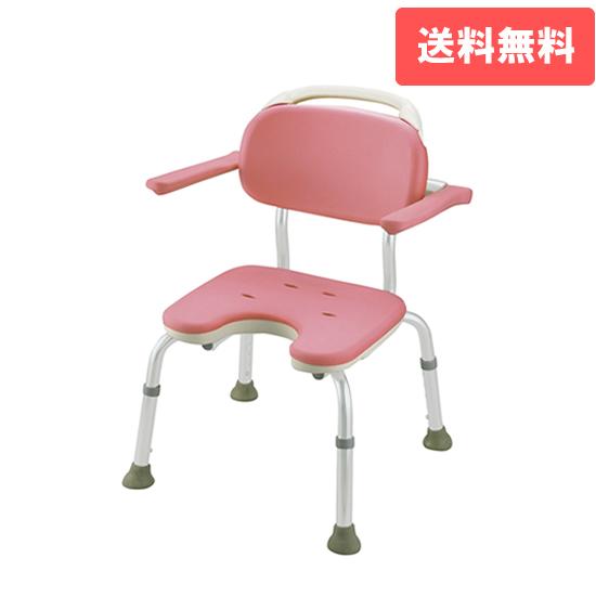 やわらかシャワーチェア U型 肘掛付コンパクト ピンク(P)リッチェル Richell ライフケア用品 介護用品 福祉用具 入浴 風呂椅子 風呂イス