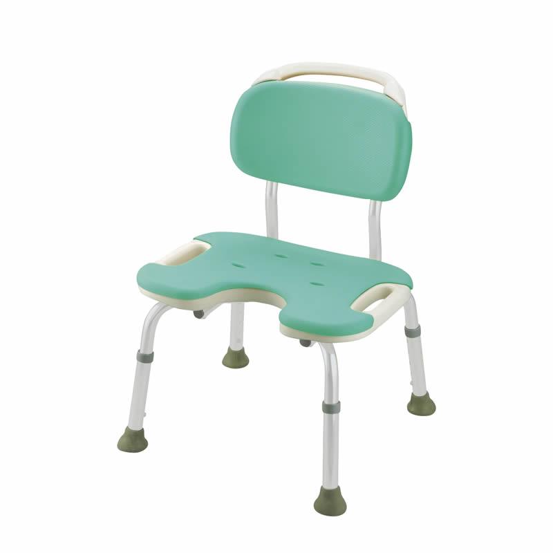 やわらかシャワーチェア U型 背付ワイド グリーン(GR)リッチェル Richell ライフケア用品 介護用品 福祉用具 入浴 風呂椅子 風呂イス