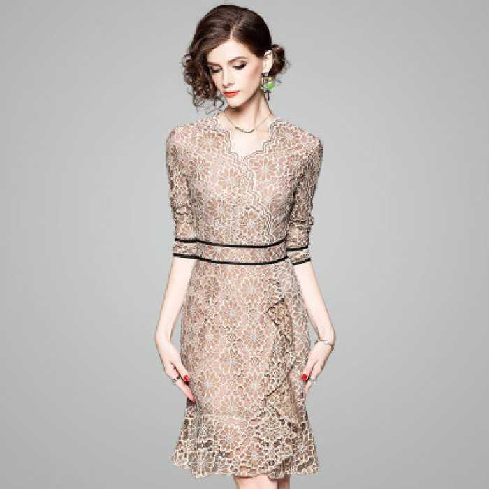 40代 ワンピース フォーマル 結婚式 ドレス 袖あり ドレープが美しいマーメイドワンピース 総レース