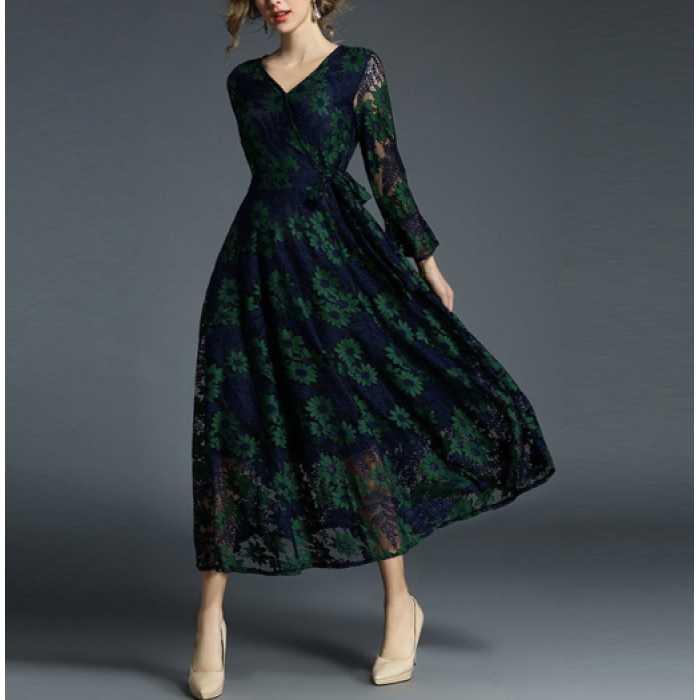 40代 ワンピース フォーマル 結婚式 ドレス 袖あり ミステリアスな雰囲気漂うフラワーレースワンピース
