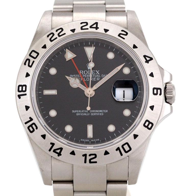 ロレックス ROLEX エクスプローラー 16570 GMT SS オートマ ランダム 2011年ギャラ 黒文字盤 【リッチタイム】【中古】