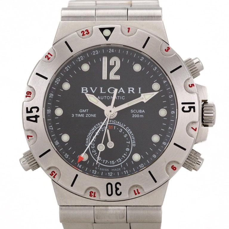 ブルガリ BVLGARI ディアゴノ SD38SGMT GMT SS オートマ スクーバ 【リッチタイム】【中古】