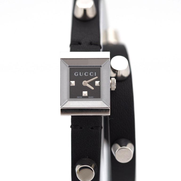b52c6b320f1 Gucci GUCCI G frame YA128520 128.5 SS  leather quartz Small watch double  lap strap studs