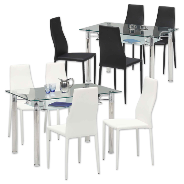 ダイニングテーブルセット ダイニングセット 5点セット 4人掛け 4人用 長方形 120x75 120テーブル 強化ガラステーブル ハイバックチェア モダン シンプル ホワイト ブラック 白 黒 シンプル モダン 北欧 家具通販 送料無料
