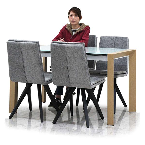 ガラスダイニングテーブルセット 4人掛け ガラス天板 ダイニングテーブル5点セット 高級感 ファブリック生地 幅128 スチール脚 北欧風 強化ガラス 新生活 パーティー おしゃれ 送料無料