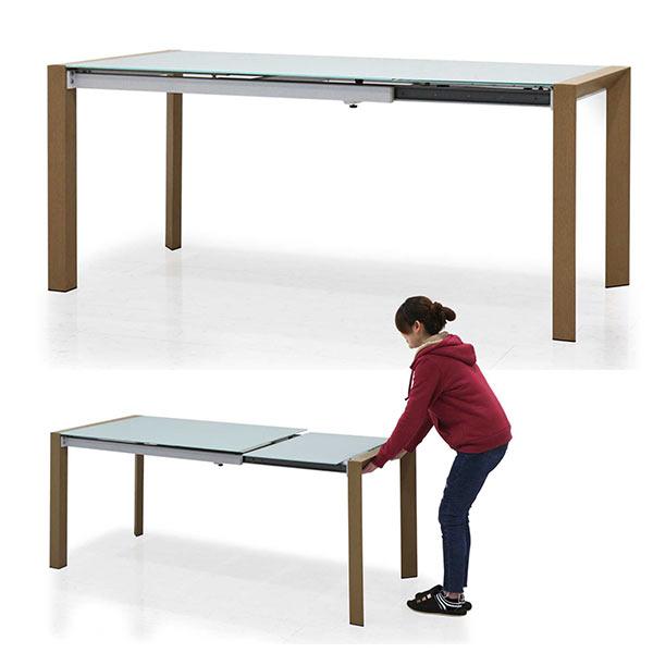 ガラステーブル おしゃれ エクステンションダイニングテーブル エクステンションテーブル ダイニングテーブル 伸縮 白 乳白色 128cm 178cm 奥行80cm 伸長式テーブル 伸びる机 長方形 スライドレール 隠しキャスター付き 強化ガラス 拡張式 伸長式ダイニングテーブル