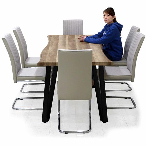 食卓セット 6人掛け ダイニングテーブルセット 7点セット 高級感 木製 合成皮革 リビング家具 なぐり加工 食卓 おしゃれ 幅180 カンティレバー ブラウン グレー ハイバック仕様 ダイニングテーブル ダイニングチェア おしゃれ チェア完成品 北欧 送料無料