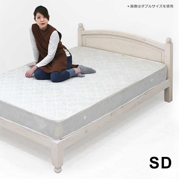 セミダブルベッド マットレス付 天然木 パイン材 セミダブルベット カントリー調 ボンネルコイルマットレス すのこベッド 頑丈すのこベッド ホワイト色 カントリー家具 白 ベッドフレーム セミダブル 脚付き おしゃれ 可愛い 木製ベッド