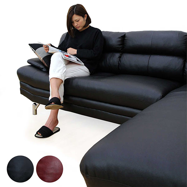 カウチソファ 本革 寝椅子 3人掛け 合皮 レザー シェーズロング L字 シンプル 北欧 モダン スタイリッシュ 高級 送料無料