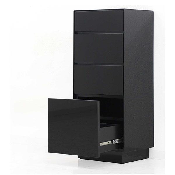 ガラス キャビネット 40cm 4段 リビングボード リビング チェスト 収納 AV DVD リモコン 機器 完成品 引き出し 北欧 モダン シック スタイリッシュ 強化ガラス ブラック 黒 送料無料