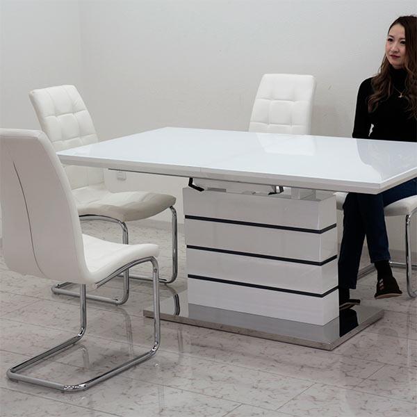 伸長式 伸縮 ダイニングテーブルセット ダイニングセット ガラステーブル 5点 4人掛け ホワイト 白 鏡面 160×85 200×85 大判 ハイバックチェア 北欧 モダン おしゃれ シンプル スタイリッシュ