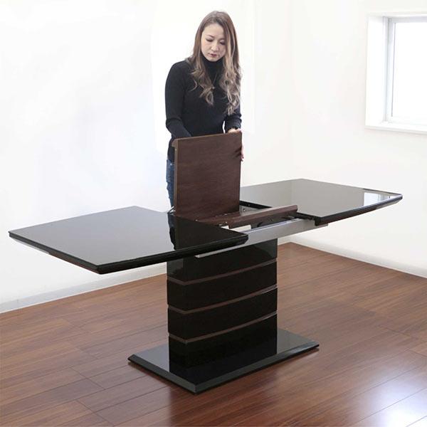 伸長式 ダイニングテーブル ガラステーブル ダイニング テーブル 伸縮 エクステンション 140×80 180×80 高さ72cm 大判 北欧 モダン おしゃれ スタイリッシュ デザイン インテリア ウォールナット 家具送料無料
