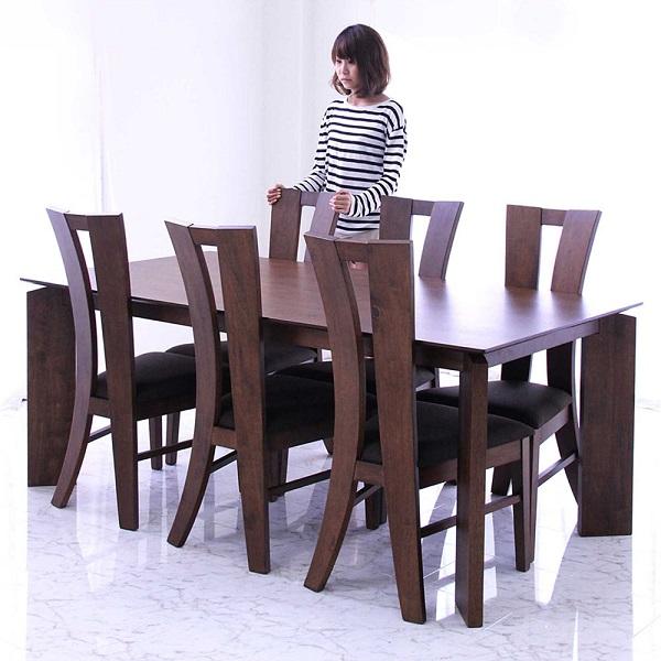 ダイニングテーブルセット 6人掛け ダイニングセット 7点セット 6人用 180x90 180テーブル おしゃれ 北欧 レトロ モダン スタイリッシュ シック インテリア ハイバックチェア 椅子 6脚 ブラウン 高級感 木製 食卓セット