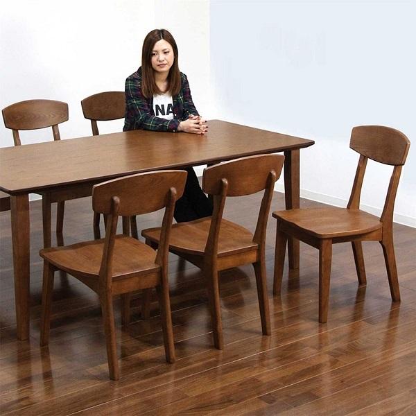 ダイニングテーブルセット 6人掛け 7点セット ホワイトアッシュ 無垢材 木目 木製 幅180 180x85 チェア 6脚 食卓セット ダイニングテーブル7点セット ナブラウン色 長方形 モダン コンパクト収納 北欧