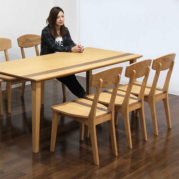 ダイニングテーブルセット 6人掛け 7点セット ウォールナット材 無垢材 ホワイトアッシュ 木製 幅180 180x85 チェア 6脚 食卓セット ダイニングテーブル7点セット ナチュラル色 長方形 モダン ライン入り コンパクト収納 北欧