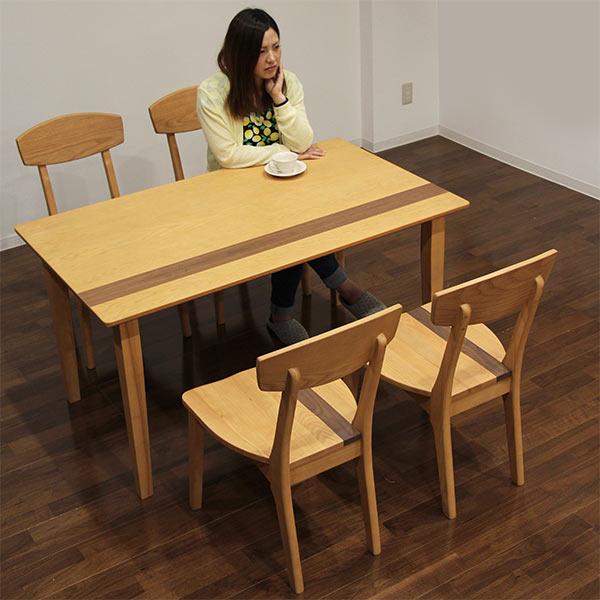 ダイニングテーブルセット ダイニングセット 5点セット 4人掛け ダイニング テーブル チェア 135x80 長方形 コンパクト 北欧 モダン シンプル ナチュラル 木製 木目 ウォールナット材 ホワイトアッシュ材  家具通販 送料無料