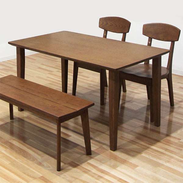 ダイニングテーブルセット ベンチ ダイニング4点セット 幅135 135x80 無垢材 ホワイトアッシュ 椅子 2脚 ダイニングベンチ 板座 座り心地 硬め ブラウン色 食卓セット おしゃれ コンパクト