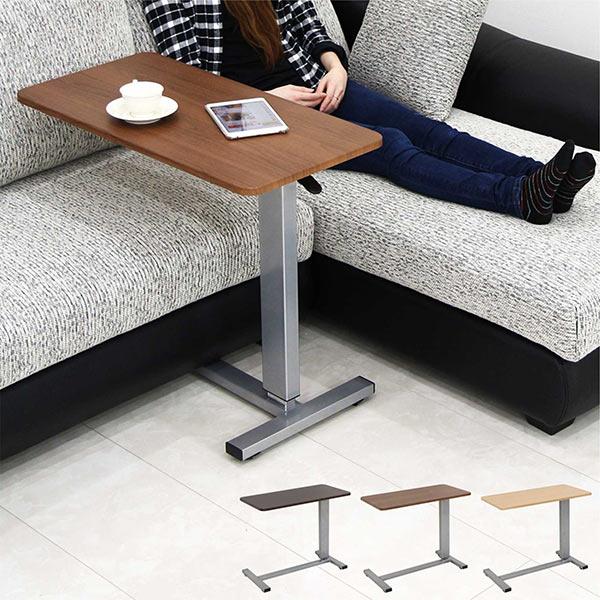 昇降式 サイドテーブル キャスター 北欧 木製 ガス圧 無段階調節 幅80cm 80×40 長方形 ナチュラル モダン 送料無料