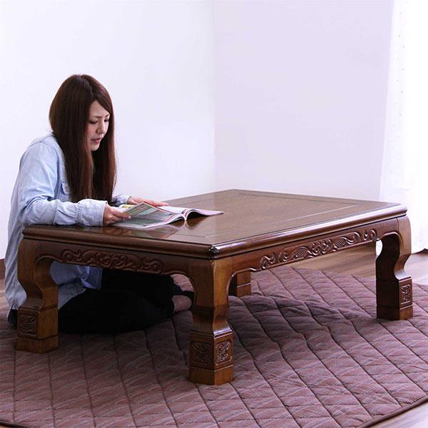 家具調コタツ 座卓 幅120cm 民芸調 彫刻入り こたつ 座卓 テーブル 継ぎ脚5cmアップ機能