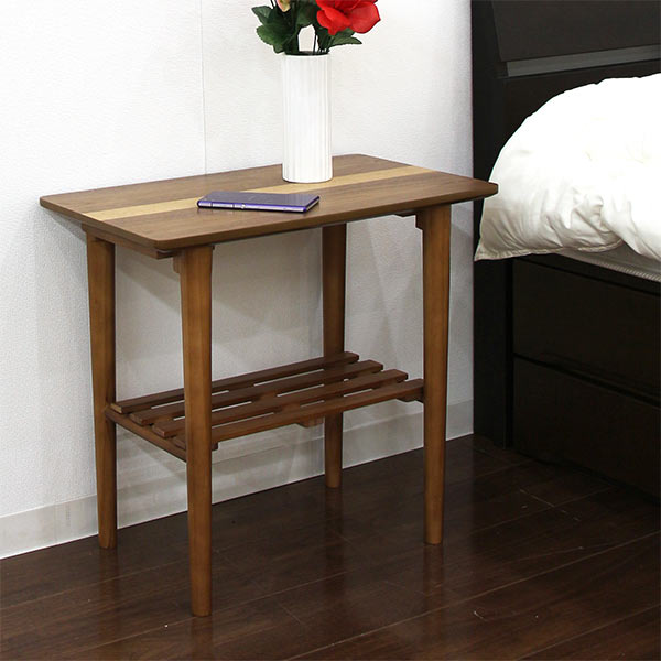 サイドテーブル 幅55cm 棚 ラック すきま収納 スリム リビング収納 収納家具 脚付き 北欧 モダン おしゃれ 木製 ウォールナット 送料無料