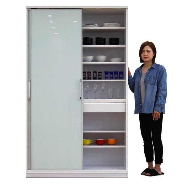 食器棚 引き戸 幅120cm 大容量収納 ガラス扉付き ホワイトガラス扉 ハイタイプ ダイニングボード カップボード 引戸 スライド収納 キッチン収納 小引き出し収納 ホワイト色 白 清潔感 おしゃれ