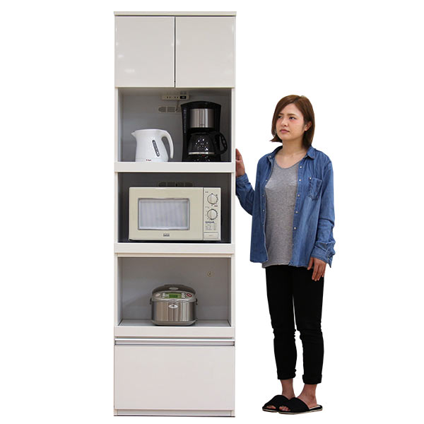 レンジ台 食器棚 すきま収納 スリム 幅60cm 高さ200cm オープンタイプ ハイタイプ レンジボード キッチンボード キッチン収納 木製 シンプル 北欧 完成品 送料無料