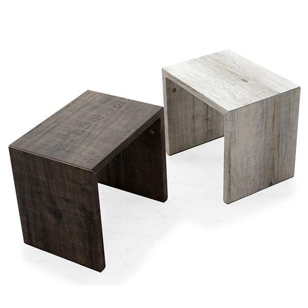 ナイトテーブル おしゃれ サイドテーブル 寝室 ミニテーブル ソファサイド ベッドサイド コの字 コの字型 アンティーク調 ビンテージ ヴィンテージ 木製 木目調 木製テーブル アイボリー色 ブラウン色 幅40cm 奥行き29cm 高さ35.5cm