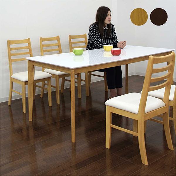 数量限定 ダイニングテーブルセット 6人掛け ダイニングセット 7点セット 光沢 鏡面 ホワイト 北欧 シンプル モダン 木製 2色対応 送料無料