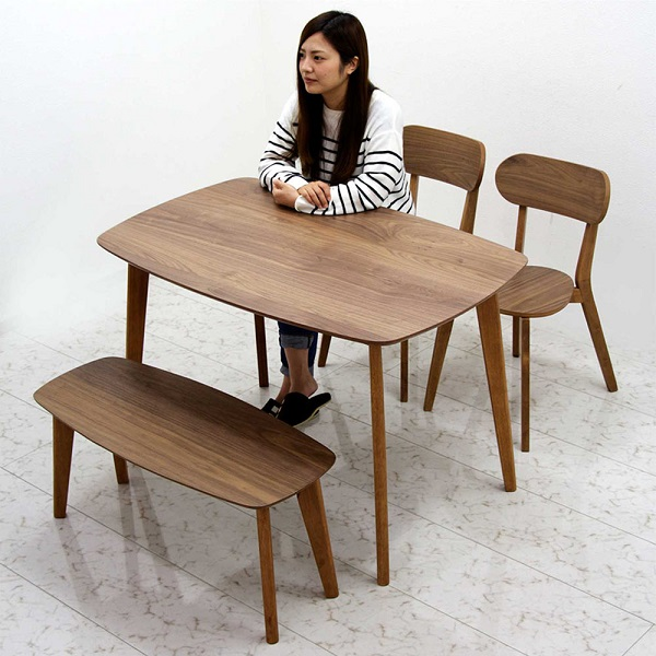 ダイニングテーブルセット ベンチ 4人掛け ダイニング4点セット 120幅 幅120cm 120x75 ウォルナット突板 長方形 カフェ風 ミニマムスタイル 椅子 2脚 食卓セット シンプル 木製 おしゃれ モダン コンパクト ダイニングテーブル4点セット