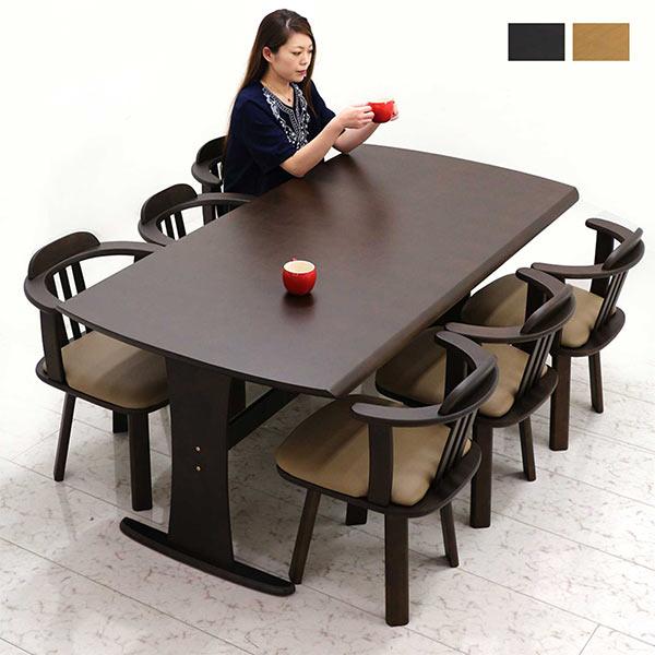 チェアを移動することなく立ち座りがラクにできて年配の方にも嬉しい便利な回転機能付き 未使用時はチェアはテーブル下に収納でき オンラインショッピング 掃除や家事の動線もスムーズに行えます ダイニングテーブルセット 6人掛け 幅180 180x90 木目調 転写シート ダイニングテーブル T字脚 回転椅子 回転式 ダイニング7点セット 回転アームチェア ブラウン 北欧 座面回転式 回転チェア モダン 6脚 シンプル アウトレット ダイニングチェア ナチュラル