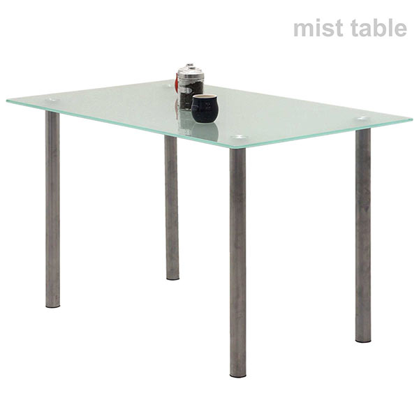 ガラステーブル 白 幅120 120x75 ガラストップ ダイニングテーブル ミストガラス 強化ガラス 食卓テーブル ガラス天板 スチール脚 長方形 ガラスダイニングテーブル ホワイト おしゃれ 清潔感 清涼感 シンプル スタイリッシュ