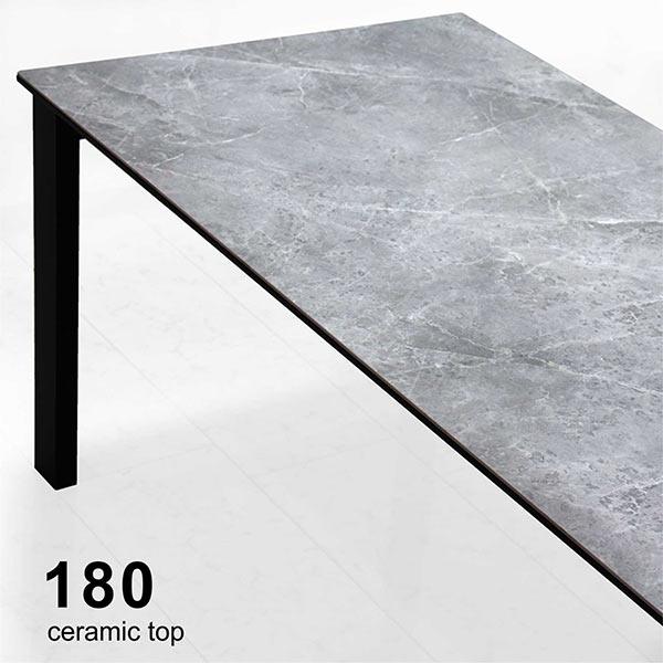 セラミック ダイニングテーブル 石目調 テーブル 幅180 180x85 セラミックトップ ストーン柄 スチール脚 陶磁器 調理作業テーブル 作業台 食卓テーブル テーブルのみ 2層構造 長方形 鏡面 光沢 耐熱 硬度 防水 グレー色 ブラック色 おしゃれ 高級感