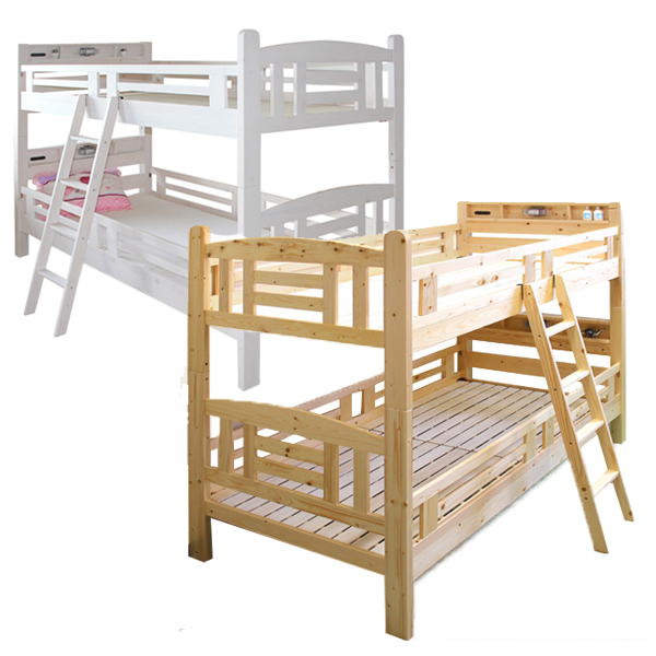 二段ベッド 2段ベッド ベット 本体 セパレート可能 すのこベッド はしご付き 子供部屋 キッズ家具 シンプル ナチュラル モダン 北欧 カントリー調 パイン材 ホワイト ナチュラル LED照明 コンセント付き 収納棚 木製 送料無料