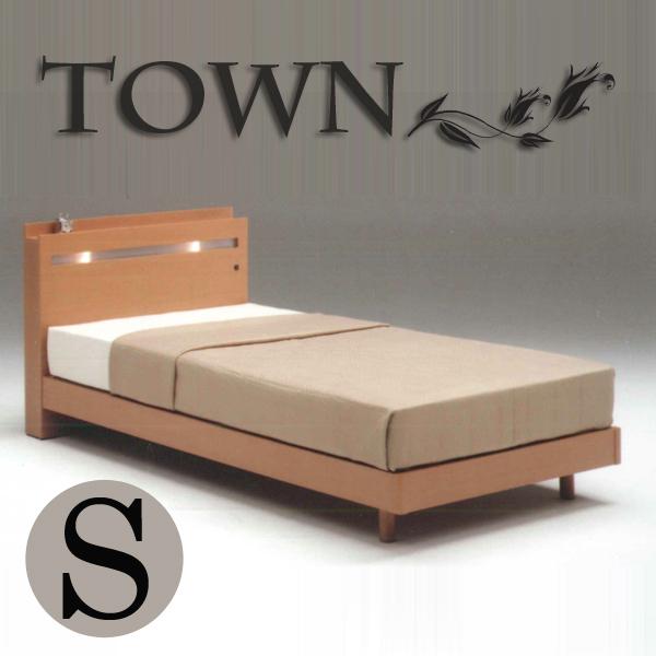 ベッド ベット シングルベッド ベッドフレーム 桐すのこベッド 宮付き ライト付き コンセント付き シンプル モダン 木製 2色対応 送料無料