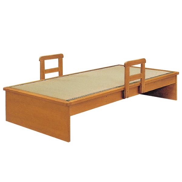 国産畳使用 ヘッドレス 畳ベッド ベット シングルベッド 手摺り2本付き モダン 和モダン 和風 木製 送料無料